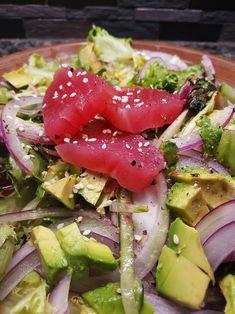 Asian-flavored Raw Tuna Salad Spicy Tuna Salad, Sushi Salad, Raw Sushi, Lchf, Keto, Sushi Grade Tuna, Raw Tuna, Sriracha Sauce, Asian