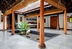 Kerala Traditional House Plans with Courtyard Luxury Darts Design - Home Inspiration Indian Home Design, Indian Interior Design, Kerala House Design, Indian Home Decor, Kerala Traditional House, Traditional House Plans, Traditional Homes, Courtyard House Plans, Backyard House