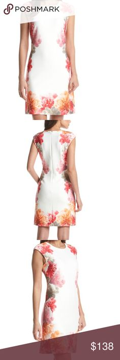 "SZ 10 AVAIL NOW-Calvin Klein Floral Sheath Dress Form-shaping silhouette with bold floral graphics with white background  Roundneck Sleeveless Bust darts Back zip closure About 38"" from shoulder to hem Polyester/spandex Calvin Klein Dresses Midi"