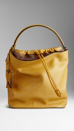 BURBERRY BRIT - Yellow Medium Brit Check Leather Hobo Bag