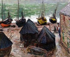 Claude Monet - Boats on the Beach at Etretat, 1885 at The Art Institute of Chicago IL