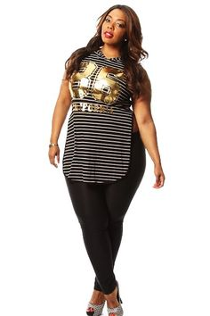 a3150da1095 Plus Size Striped 86 Cali Print Top