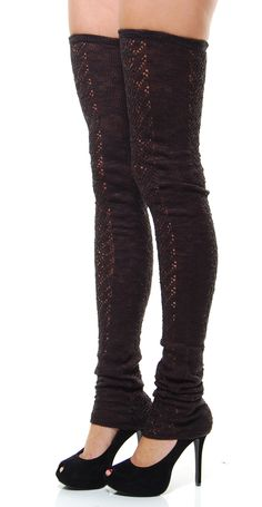 Black Thigh High Crochet Leggings