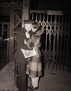 Sailor Kisses Girl Goodbye during WWII - BE070125 - Rights Managed - Stock Photo - Corbis