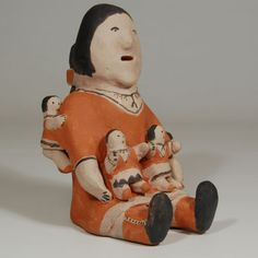 "#adobegallery #CochitiPuebloPottery #SouthwestIndianPottery #JosephineArqueroPottery - Female Storyteller with 4 kids. Josephine Arquero (1928- ) #JosephineArquero Category: #Figurines Origin: #CochitiPueblo Medium: clay, pigment Size: 7"" height x 4-3/4"" depth x 4-1/2"" width Item # C3688.11"