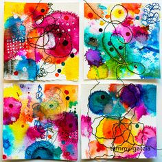 "3x3"" inked cards for 365 Project by Tammy Garcia https://daisyyellowart.com #365somethings2018 #abstractart"