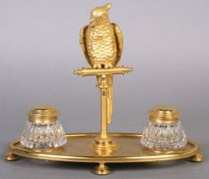 Bronze Bird Inkwells
