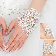 Yilana Rhinestone Bracelets Crystal Wedding Bridal Bracelet Chain Charm Jewelry wedding chaie for Hand and Arm