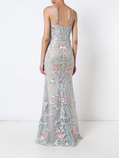 Marchesa Notte floral embroidered gown