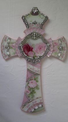 "Vtg Chic China Mosaic Pink Rose Wall French Shabby Jewelry Rhinestone Letter ""L"" | eBay"