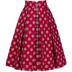 Lena Hoschek Marseille Bouquet Cherry Skirt ($605) ❤ liked on Polyvore featuring skirts, box pleat skirt, purple print skirt, cotton skirt, high rise skirts and cherry skirt