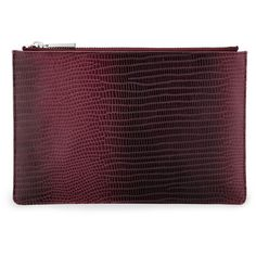 Whistles Graduated Lizard Small Clutch (€62) ❤ liked on Polyvore featuring bags, handbags, clutches, burgundy, purple handbags, burgundy leather purse, purple leather handbag, leather handbags and 100 leather handbags