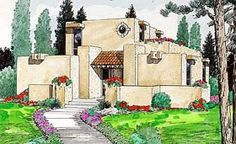 Elevation of Santa Fe   Southwest   House Plan 94304