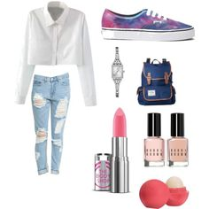 ootd saturday ? by titsouillelafripouille on Polyvore featuring polyvore, mode, style, Vans, GUESS, Eos and Bobbi Brown Cosmetics