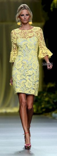 Yellow lace dress I need this Look Fashion, Womens Fashion, Fashion Design, Fashion Styles, Latest Fashion, Fashion Ideas, Lingerie Look, Yellow Lace, Yellow Dress