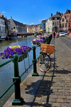 The path along the canal in Gent BELGIUM