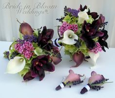 4 piece Wedding bouquet Bridal bouquet set Silk wedding flowers real touch calla lily orchid bouquets
