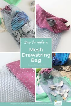 Learn How to Sew a Drawstring Mesh Bag. Make lots of them. They make a great beach bag, shower bag, laundry bag, reusable produce bag, or any type of other useful bag. Drawstring Bag Diy, Zipper Pouch Tutorial, Purse Tutorial, Mesh Laundry Bags, Produce Bags, Fabric Bags, Fabric Basket, Fabric Purses, Bag Patterns To Sew