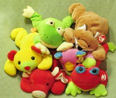 6 Ty Pillow Pals RED Bull FOXY Pink MEOW Red & Green RIBBIT Yellow Cat Plush Toy #Ty