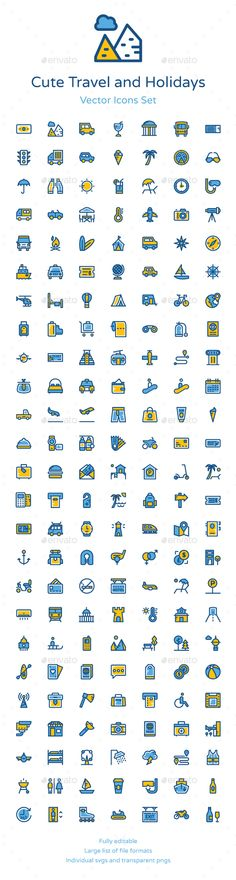 175 Cute Travel and Holidays Icons