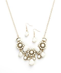 Look at this Ivory & Gold Teardrop Bib Necklace & Earring Set on #zulily today!