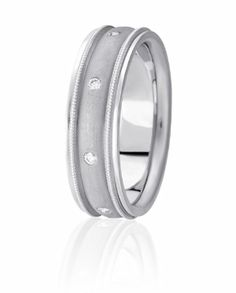 Flush Set Diamond Wedding Band With Sandblasted Low Domed Center Trimmed By Milgrain & High Polished Edges