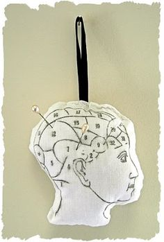 Crafty Project - Phrenology Head Pin Cushion - The Graphics Fairy