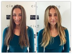 Bronde Before and After on long layered hair.  Balayage natural hair coloring, fighting fall with bright blonde highlighting