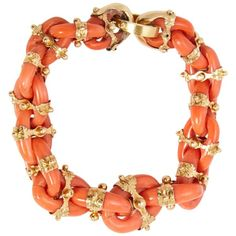 A Sicilian coral and gold link bracelet. Made in England, circa Pantone Colour of the Year 'Living Coral' - Vintage Gold Link Bracelet, Coral Bracelet, Link Bracelets, Jewelry Bracelets, Jewelry Watches, Snake Jewelry, Jewelry Box, Fine Jewelry, Jewelry Stand