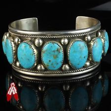 Large heavy Vintage Navajo turquoise sterling silver bracelet 92.5 pawn jewelry
