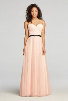 Strapless Tulle Prom Dress with Sash - Pink, 16