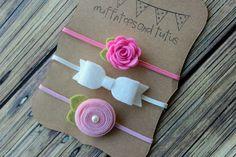 Sintió establece diadema - conjunto de la venda del bebé - - recién nacido / bebé / niño diadema rosa y blanco