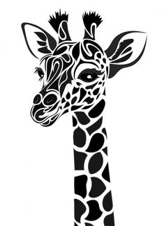 T shirt stencil.Tribal Giraffe by Dessins-Fantastiques on DeviantArt Stencil Patterns, Stencil Art, Animal Stencil, Drawing Stencils, Stencil Printing, Silhouette Cameo Projects, Silhouette Design, Giraffe Silhouette, Silhouette Files