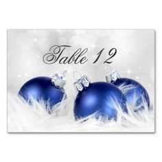 Blue And Silver Christmas Table Numbers Table Cards