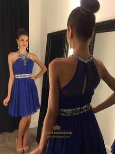FancyBridesmaid.com Offers High Quality Knee Length A-Line Embellished Beaded Halter Chiffon Cocktail Dress,Priced At Only USD $107.00 (Free Shipping)