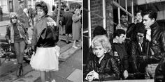 """(L) Rita Tushingham on the set of the iconic British film, """"The Leather Boys"""", 1963. (R) Rita Tushingham and Colin Campbell in the iconic Br..."""