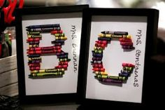 broken crayons turn into monogrammed presents for teachers :) cute, colorful idea.