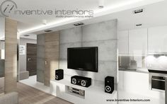 Projekt mieszkania Inventive Interiors - beton i jasne drewno w męskim salonie