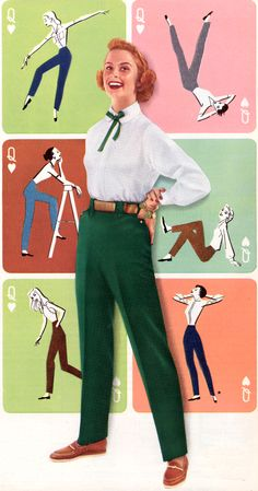"""I couldn't get used to wearing """"trousers"""" no matter what I did ... until I learned to be a contortionist and grabbed my own wrists .....1950s coloured trousers, Levis ad."""