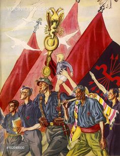 'La Falange' - supporters of the Falangist (Spanish fascist) party march forward in unity