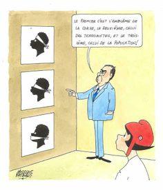 """Jacques Faizant - """" Le premier c'est l'emblème de la Corse, le deuxième, celui des terroristes, et le troisième, celui de la population ! """". Dessin en couleurs à l'encre et aquarelle sur papier, signé en bas à gauche. Haut. : 22 cm ; Larg. : 19 cm. Sur feuille : Haut. : 32,5 cm ; Larg. : 25 cm. Mention (Jours de France) n°1695 du 27.6.87 au dos.  Réf. : 2650 - 323  Estimation : 400 € - 500 €"""