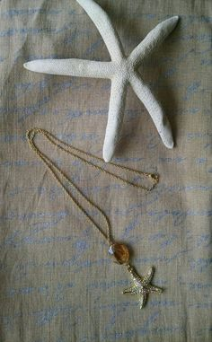 Long Gold Chain Starfish Necklace Long Gold Chain by loveroxjewels