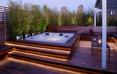 A Jacuzzi is a real relaxation oasis, the best place ever to have a rest after a long day. But if your Jacuzzi is outdoors, it's even more amazing . Rooftop Design, Deck Design, Rooftop Decor, Roof Terrace Design, Rooftop Lounge, Rooftop Patio, Rooftop Bar, Design Hotel, Landscape Design