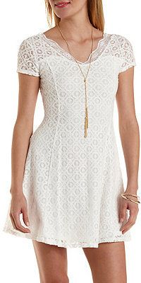 $10, White Lace Skater Dress: Charlotte Russe Cap Sleeve Lace Skater Dress. Sold by Charlotte Russe. Click for more info: https://lookastic.com/women/shop_items/232835/redirect