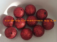 Ten(10) 20mm red glitter bubblegum/chunky beads by CraftyCreationsByLB on Etsy