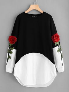 Shop Rose Patch Contrast 2 In 1 Dress online. SheIn offers Rose Patch Contrast 2 In 1 Dress & more to fit your fashionable needs. Girls Fashion Clothes, Teen Fashion Outfits, Women's Fashion Dresses, Girl Outfits, Cute Outfits, Trendy Clothing, Fashion Mode, Girl Fashion, Swag Fashion