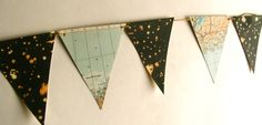 Vintage map and starry night bunting. would make for a cool kids room.
