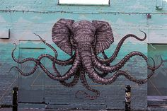 What a brilliant idea by Puerto Rican artist Alexis Diaz: a curious mash-up of an elephant and an octopus as a street mural, with its trunk as one of the octopus arms. Diaz apparently took an entire week at Hanbury Street off Brick Lane, London, to complete the work with tiny little brushstrokes. Sure beats [...]