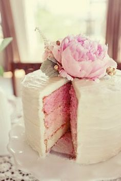 Ombré cake topped with peony
