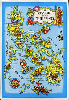 Continental Chrome Postcard Republic of the Philippines Maps Philippine Mythology, Philippine Map, Filipino Art, Filipino Culture, Philippines Culture, Philippines Travel, The Paper Kites, Baybayin, Mindoro